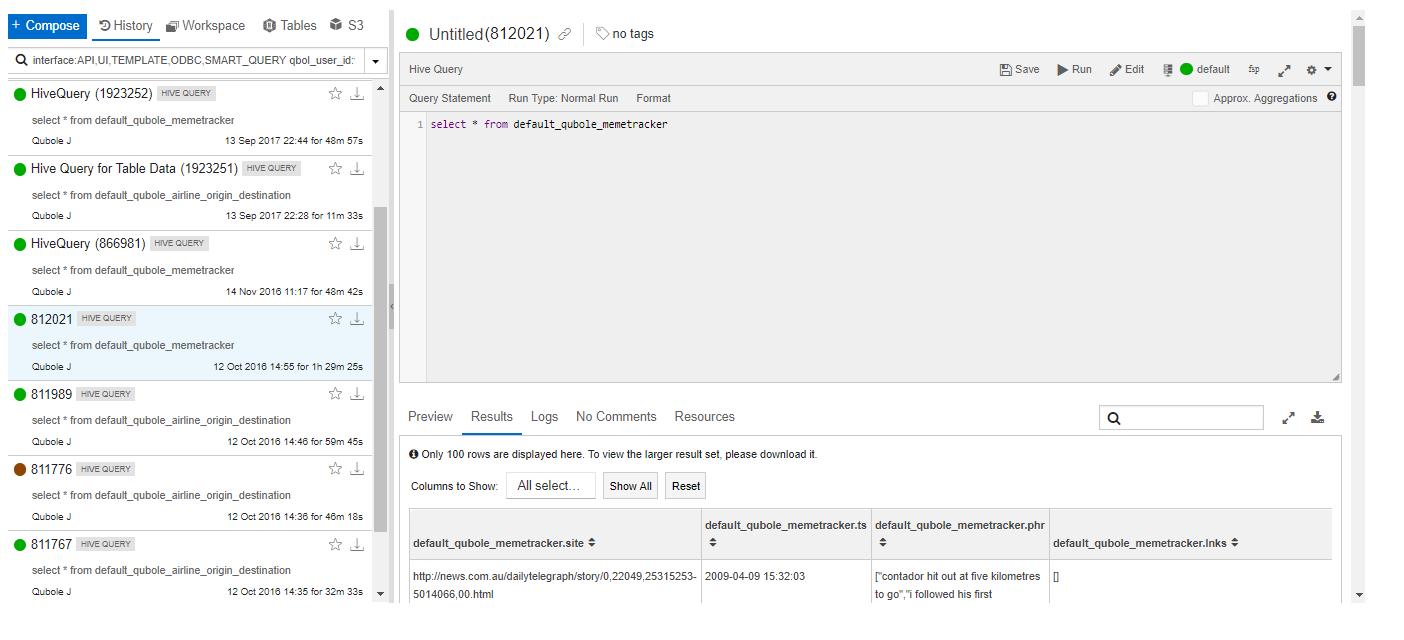 Analyzing Data in Hive Tables — Qubole Data Service 1 0 documentation