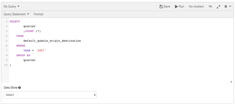 Composing a DB Query — Qubole Data Service 1 0 documentation