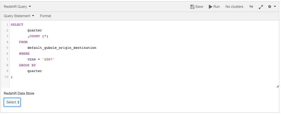 Composing a Redshift Query — Qubole Data Service 1 0 documentation