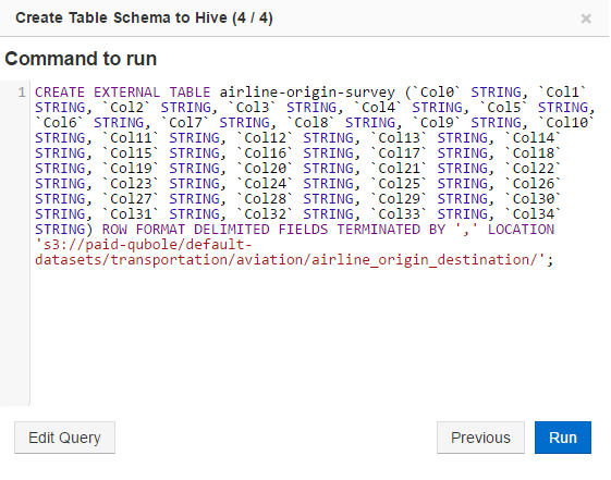Creating a Schema from Data in Cloud Storage — Qubole Data