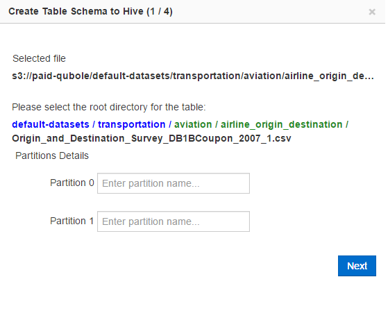 Creating a Schema from Data in Cloud Storage — Qubole Data Service