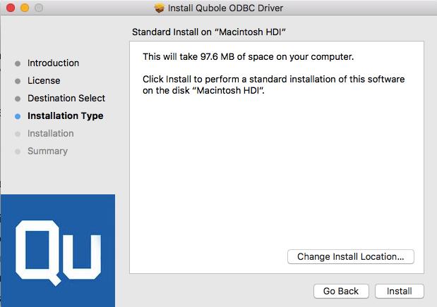 Installing the ODBC Driver on Mac — Qubole Data Service 1 0