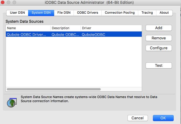 Configuring the ODBC Driver — Qubole Data Service 1 0 documentation
